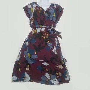 floral wrap neckline dress LOFT XS burgundy yellow